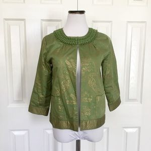 Chico's green and gold 3/4 sleeve jacket blazer